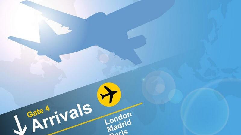 Grafik Stilisiertes Flugzeug oben mit Ankunftstafel aus Flughafen unten