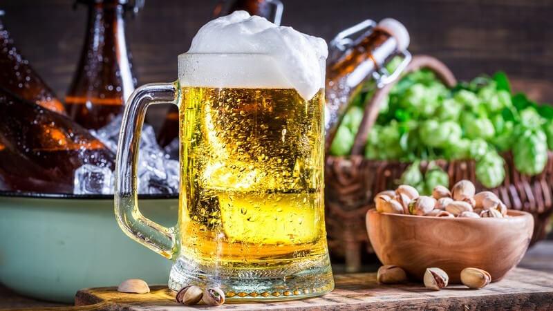 Glashumpen mit hellem Bier neben einer Schale mit Pistazien, im Hintergrund Hopfen und Bierflaschen
