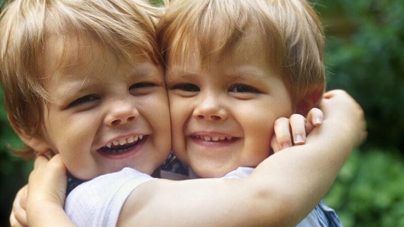 Zwillinge - zwei kleine Jungs halten sich Wange an Wange im Arm