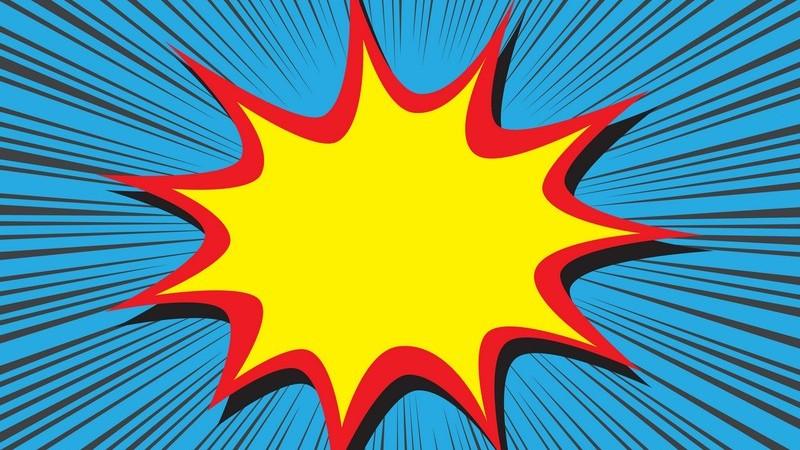 Gelber Stern mit rotem Rand auf blauem Hintergrund, bekannt aus Comics und Cartoons