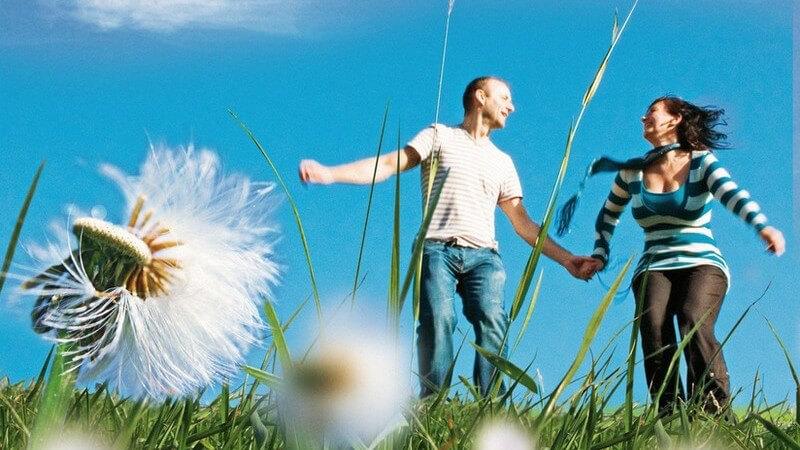 Pärchen (junger Mann in T-Shirt und junge Frau in gestreift) auf Wiese mit Blumen, blauer Himmel, halten Hände