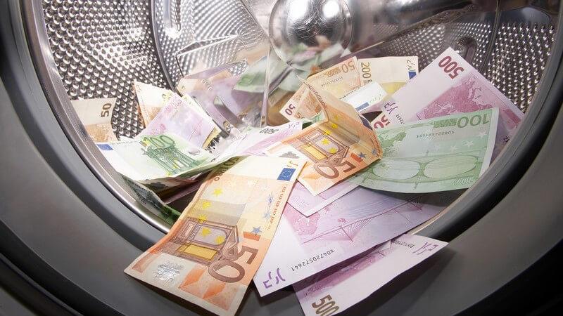 Geldscheine 50 bis 500 Euro in Wäschetrommel