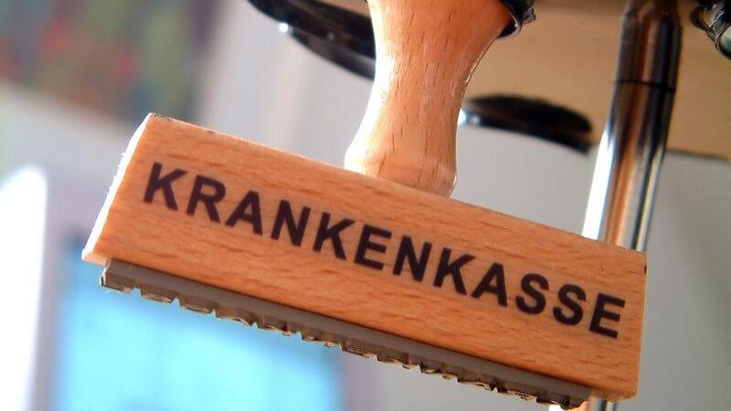 """Holzstempel mit Schriftzug """"Krankenkasse"""""""