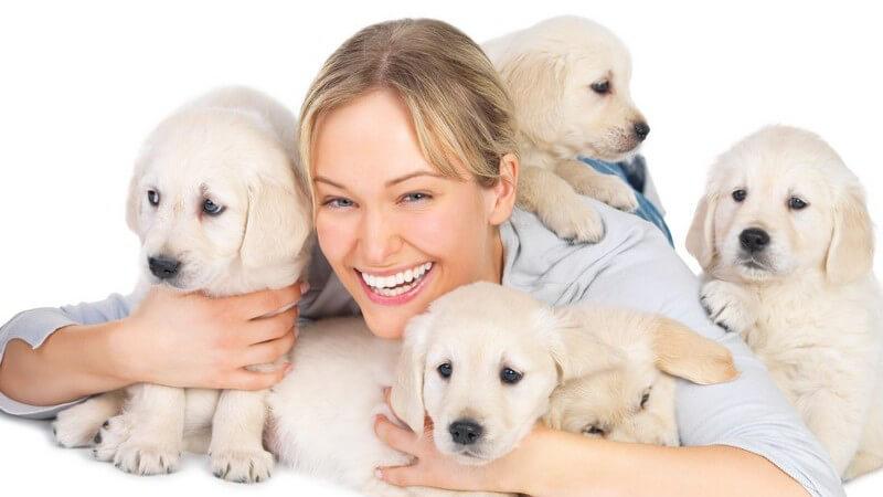 Junge Frau mit Hundewelpen, weißer Hintergrund