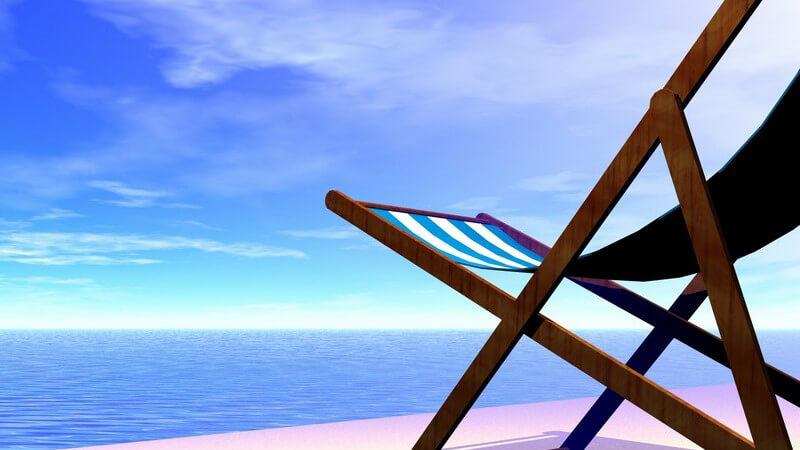 Grafik Sonnenstuhl am Strand vor Meer