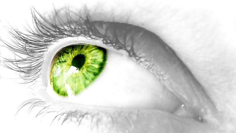Nahaufnahme schwarz weiß, rechtes Auge in leuchtendem Grün schaut nach rechts oben