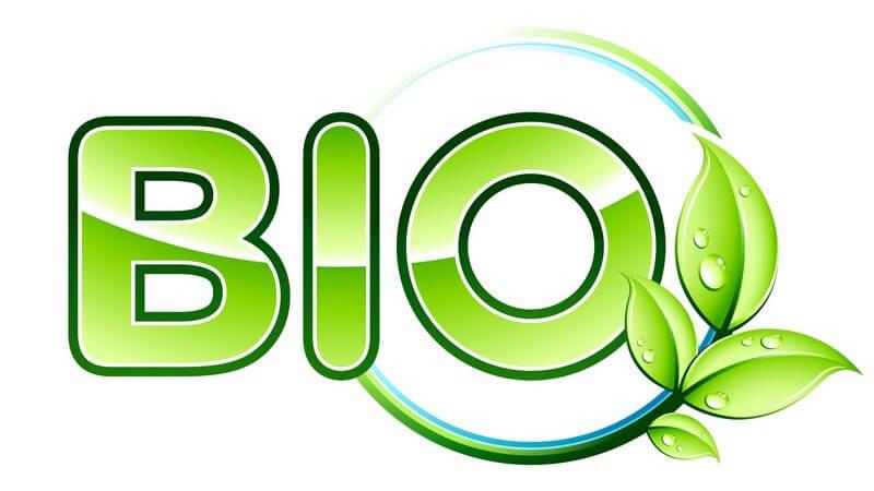 Grünes Bio-Logo auf weißem Hintergrund