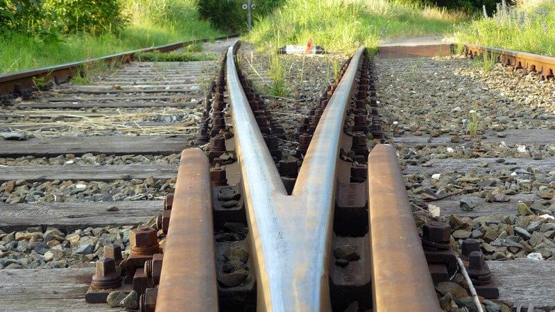 Nahaufnahme Zweigung Schienengleise