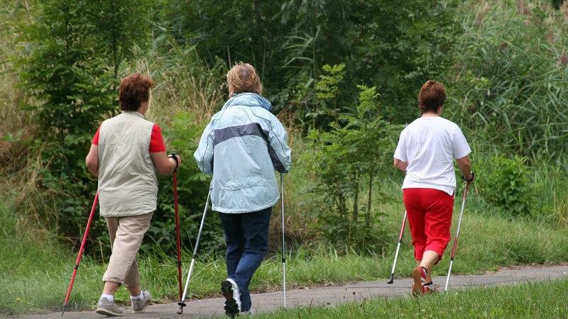 Rückansicht drei Frauen beim Walken