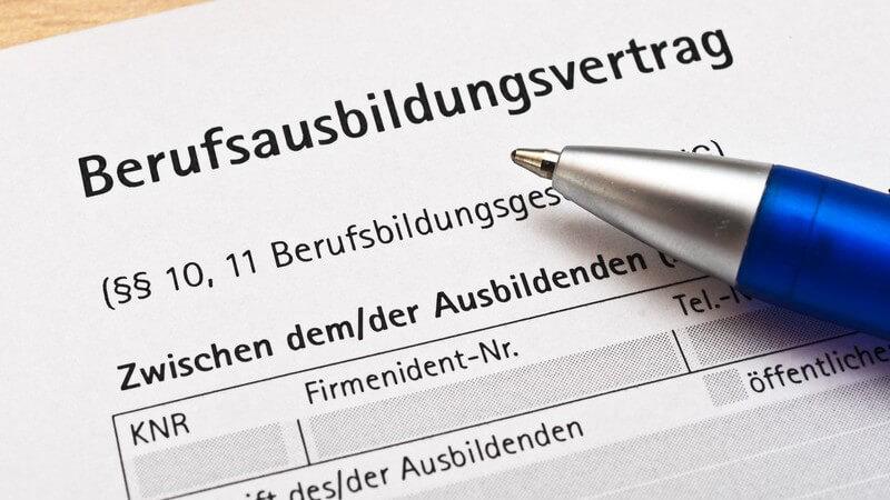 Blauer Kugelschreiber auf einem Formular eines Berufsausbildungsvertrages