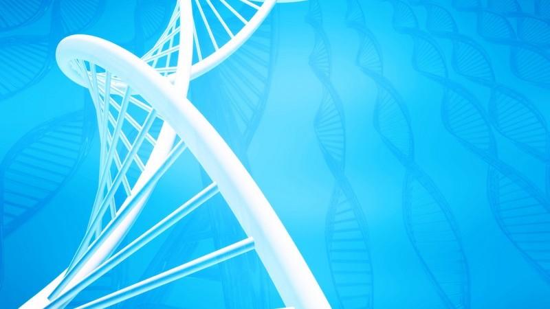 3D Grafik DNA weiß auf blauem Hintergrund