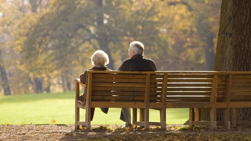 Altes Pärchen sitzt auf einer Parkbank mit dem Rücken zur Kamera