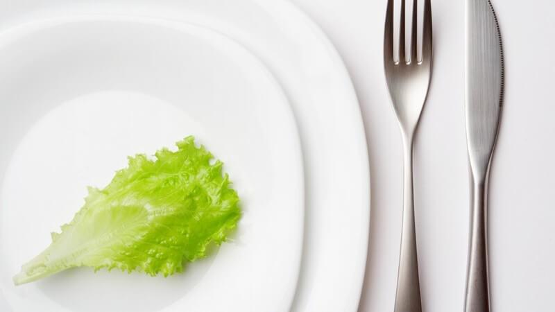 Zwei weiße Porzellanteller und Besteck mit Messer und Gabel mit einem einzelnen Salatblatt als Menü Diät Abnehmen