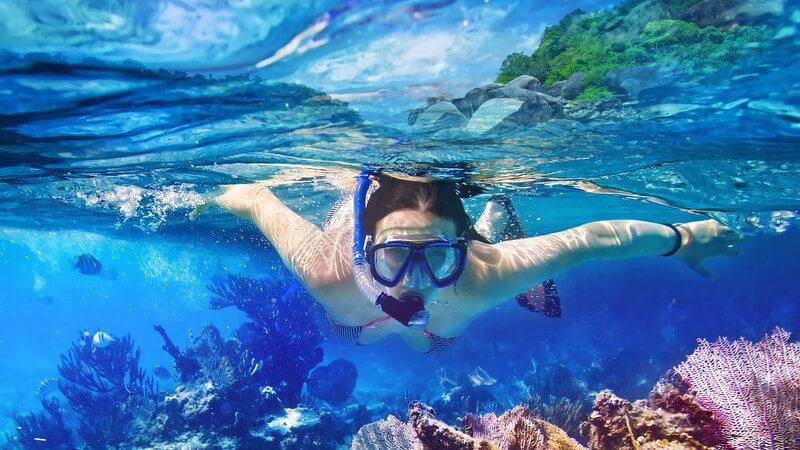Frau in Bikini beim Schnorcheln zwischen Korallen in tropischem Gewässer