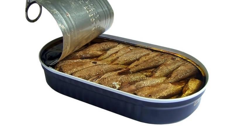 Geöffnete Dose mit Heringsfisch