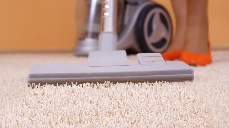 Nahaufnahme Staubsauger auf hellem Teppich