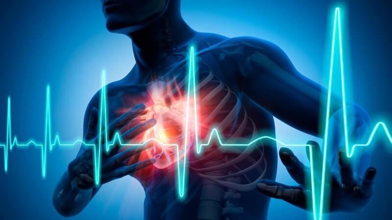 Grafik Mensch mit Herzschmerzen - Herzinfarkt