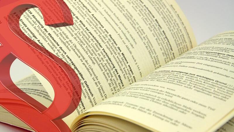 Rechte des Mieters: aufgeschlagenes Gesetzbuch mit großem Paragraphen davor