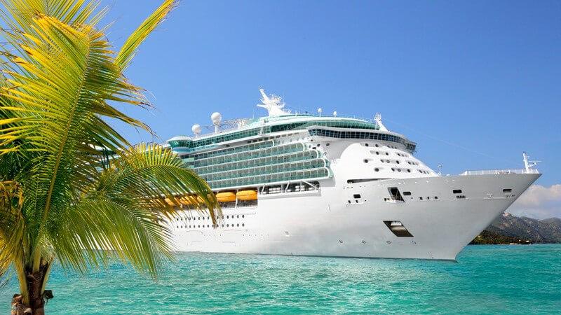 Luxus Kreuzfahrtschiff fährt vom Hafen ab, im Vordergrund Palme, türkises Meer