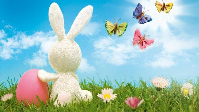 Grafik zu Ostern - Weißer Hase neben rosa Osterei auf Blumenwiese und Schmetterlinge am blauen Himmel