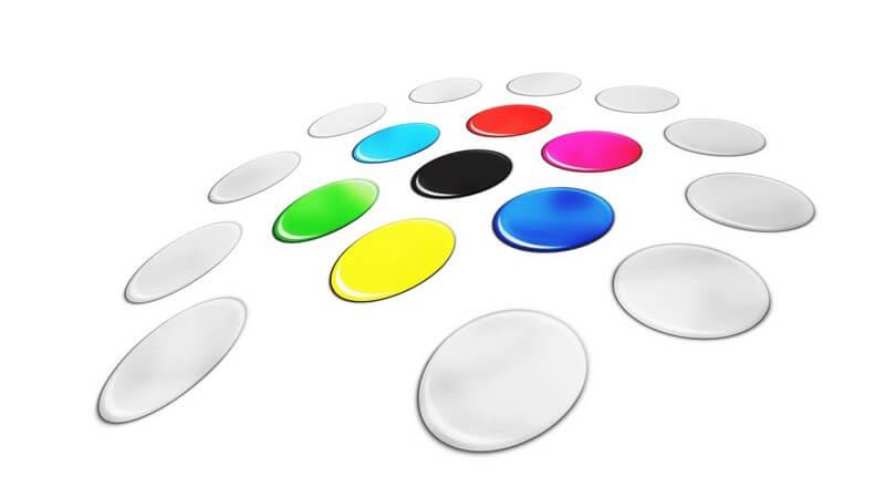 Farben Farbpalette Farbspektrum Farbkreis mit gelben, grünen, schwarzen, pinken, roten, türkisen, ultramarinen Kreisen