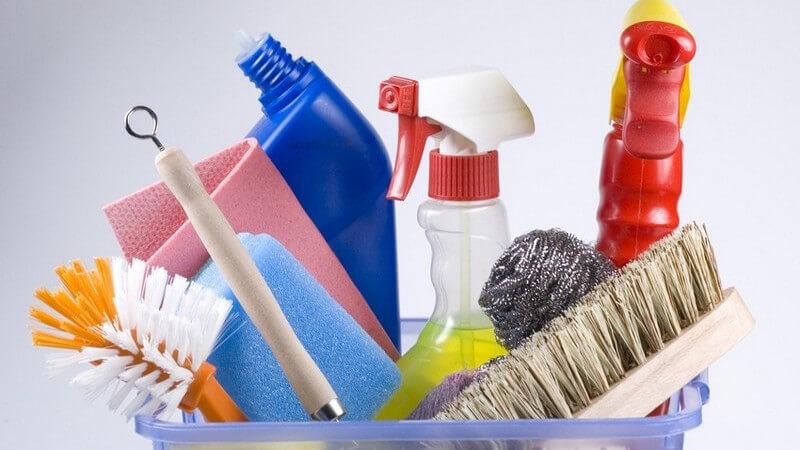 Reinigungs-Set mit Spülbürste, Wischtuch, Küchentuch, Handbesen, Reinigungsmittel, WC-Reiniger, Schwamm und Kesselwolle