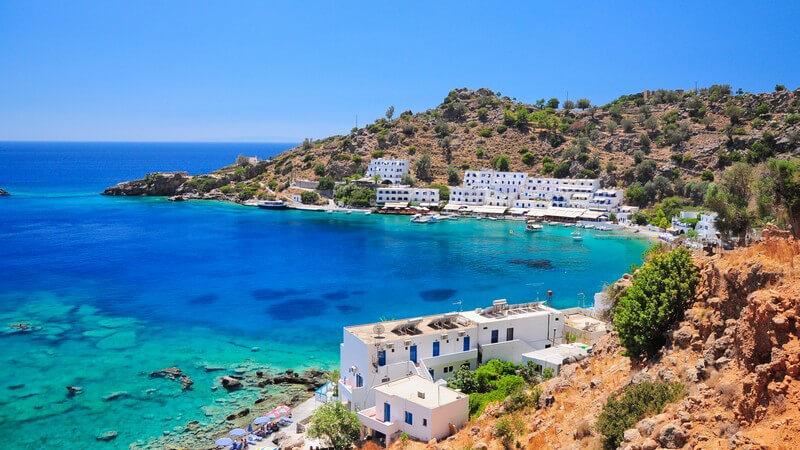 Blick auf Loutro auf Kreta, Griechenland