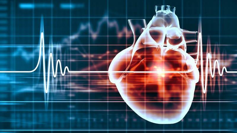 Diagramm eines Herzschlags mit 3-D-Grafik des Herzens