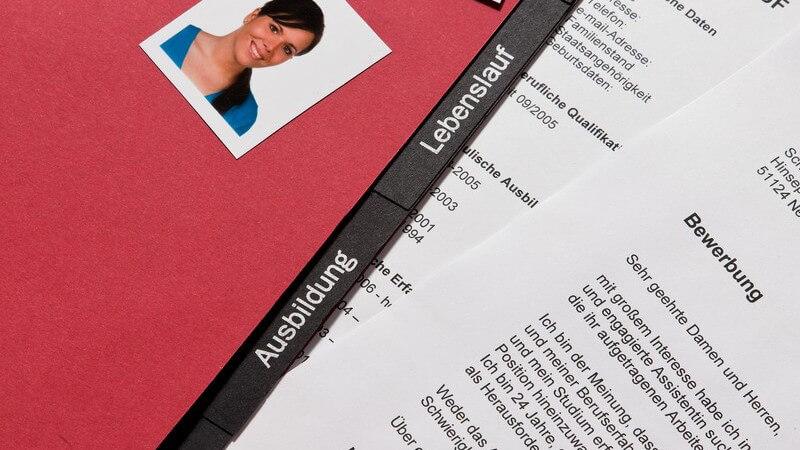 Bewerbungsmappe, Bewerbungsschreiben, Lebenslauf, Passfotos