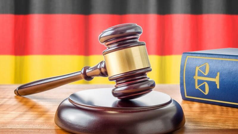 Richterhammer neben blauem Gesetzbuch vor Deutschlandflagge