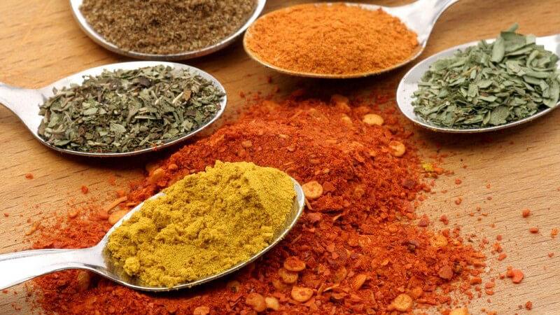 Verschiedene Gewürzpulver wie Curry, Chili auf Löffeln