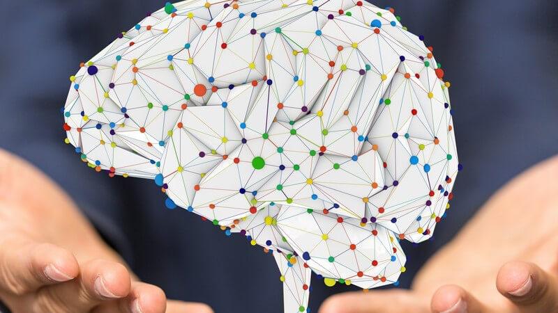 3-D-Modellgrafik eines Gehirns mit vielen bunten Verbindungspunkten, scheint über zwei Händen zu schweben