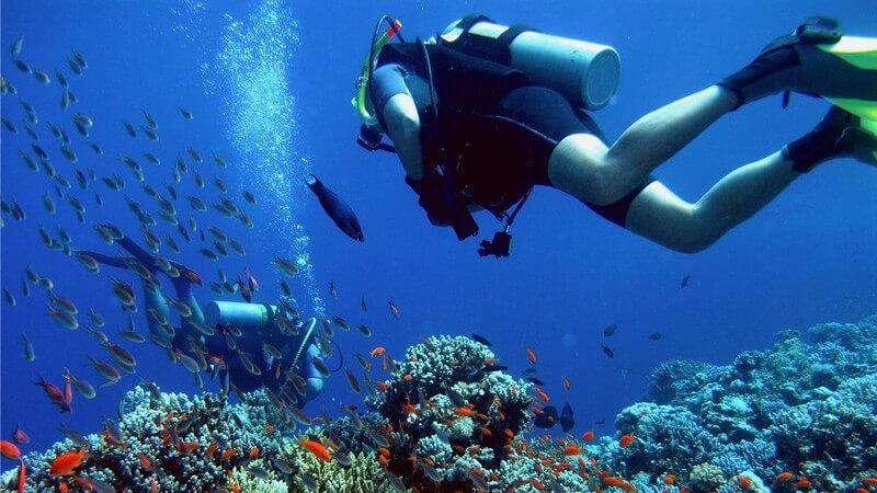 Taucher mit Taucherausrüstung unter Wasser bei Korallen