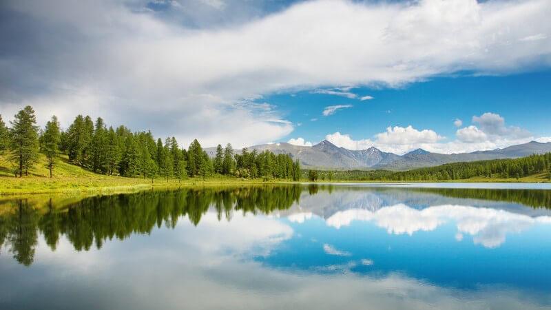 Bergsee mit Wald unter blauem Himmel