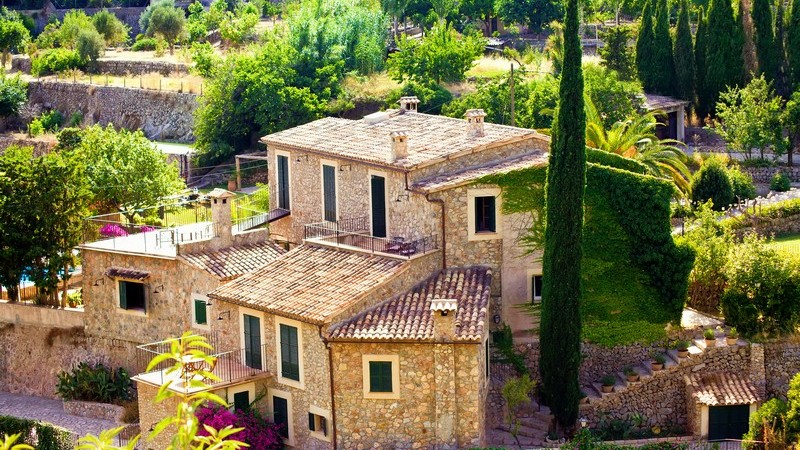 Blick auf Fincas in Valldemossa, Mallorca