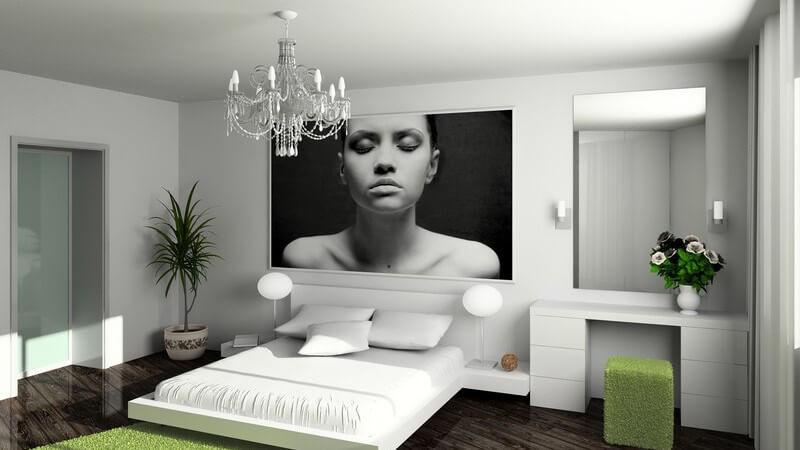 Einsicht modernes Schlafzimmer, weiße Möbel, dunkelbraunes Parkett