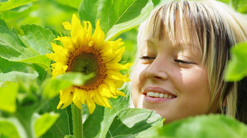 Gesicht einer jungen Frau im Grünen neben Sonnenblume