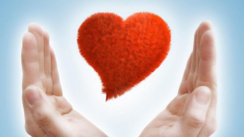 Liebe - Ein rotes Herz schwebt zwischen zwei Händen