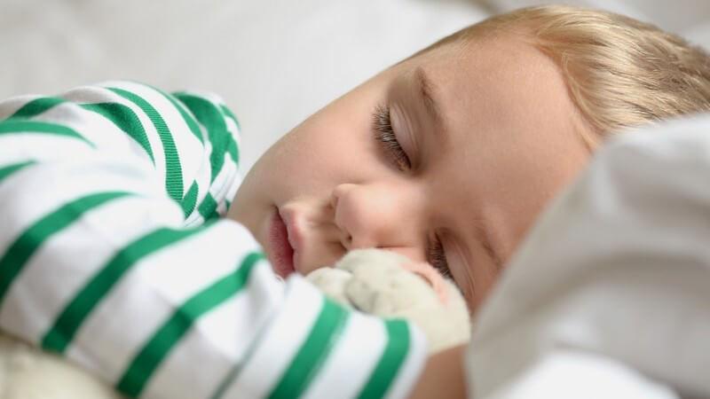 Kleiner schlafender Junge mit Teddy im Arm