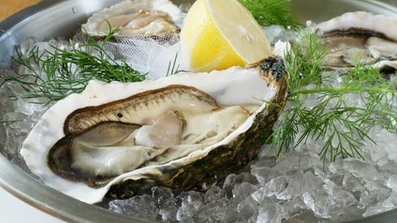 Offene Austern auf Eis mit Zitrone und Dill auf silbernem Tablett