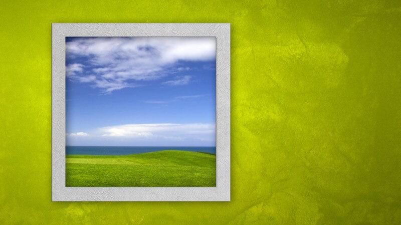 Grafik grüne Wand mit offenem Fenster, draußen grüne Wiese unter blauem Himmel