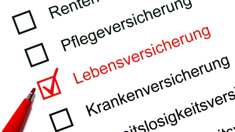 Liste Versicherungen, Lebensversicherung rot markiert