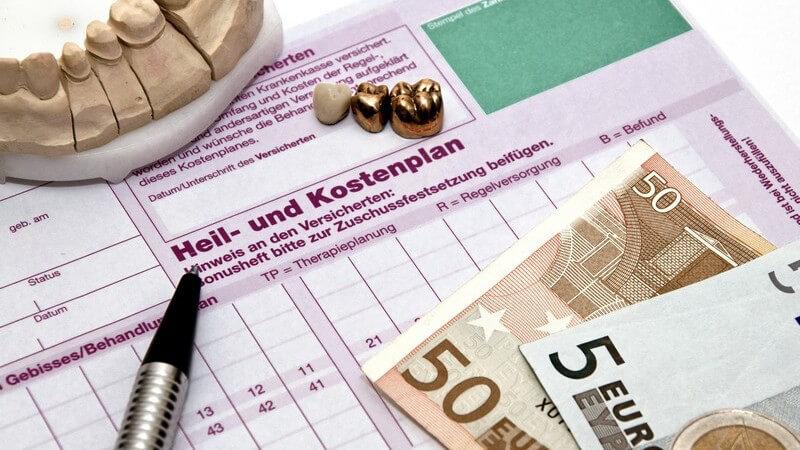 Heil- und Kostenplan, Geldscheine, Abdruck Gebiss