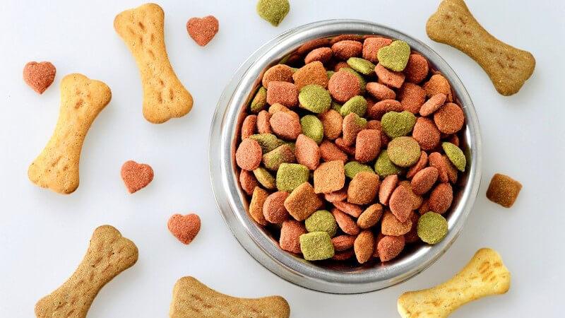 Silberner Fressnapf mit Trockenfutter, umgeben von knochenförmigen Keksen für Hunde