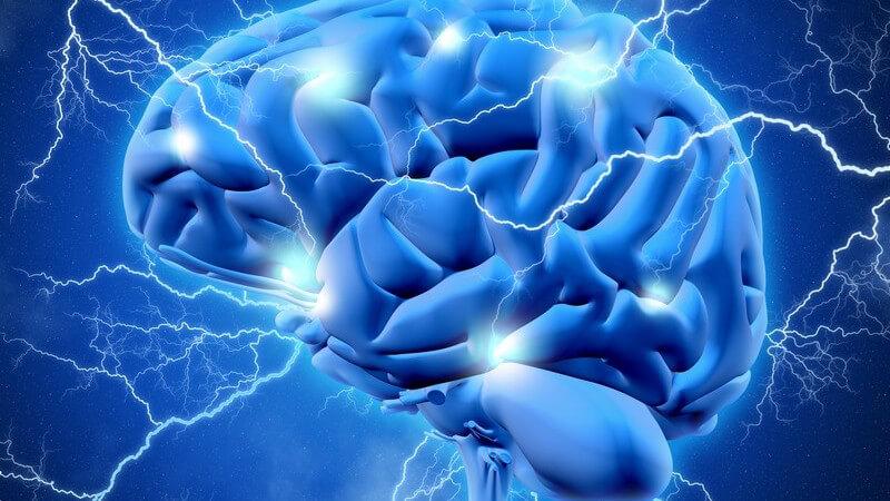 Blaue 3-D-Grafik eines Gehirns mit vielen Blitzen