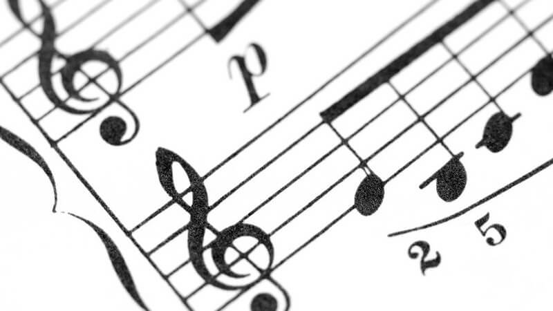Ausschnitt Partitur, Notenlinie - Achtelnoten im Violinschlüssel