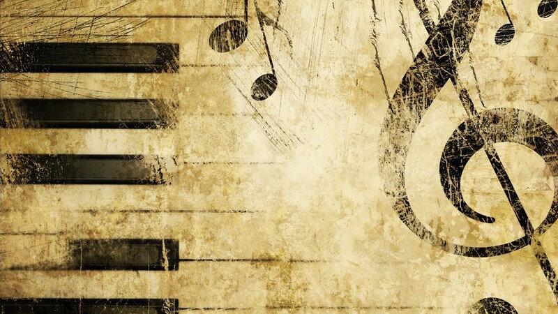 Grafik Klaviertasten, Notenschlüssel, Noten