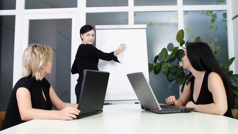 Zwei schwarz gekleidete Frauen in Büro arbeiten am Laptop im Besprechungsraum, eine arbeitet an der Flipchart