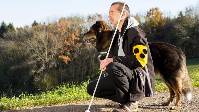 Blinder Mann mit Stock und Binde hockt auf einem Weg neben seinem Hund