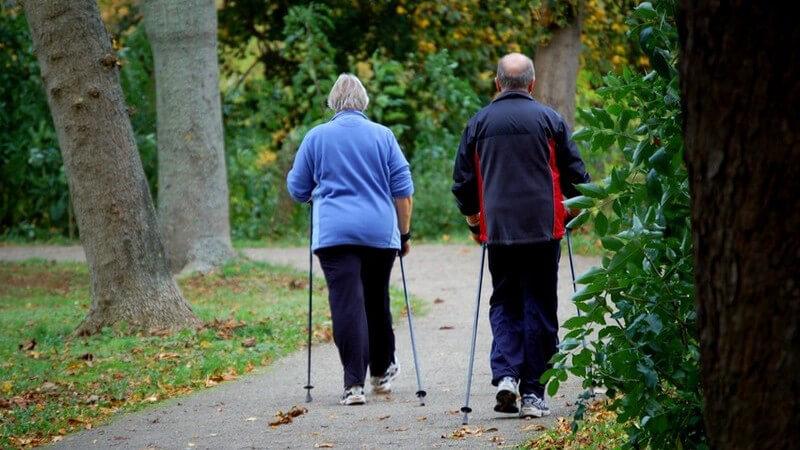 Zwei Senioren oder älteres Ehepaar von hinten in Sportdress im Park beim Nordic Walking mit Stöcken